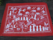 Rapa Nui Collectible Souvenir Easter Island Tiki Hibiscus Dining Placemats Red 6