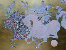 Guillaume Azoulay Le Vol Des Grues (Gold) HAND SIGNED Serigraph  Moroccan Artist