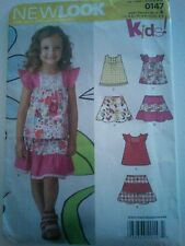 NEW LOOK SEWING PATTERN #0147 - GIRL'S SUMMER DRESS - SIZE A (3-8) UNCUT