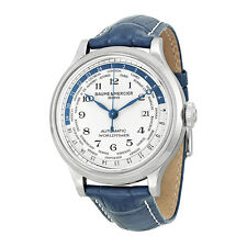 Baume and Mercier Capeland Worldtimer Silver Dial Blue Leather Mens Watch 10106
