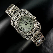 Awesome Champagne Marcasite Dial Mother Of Pearl 925 Sterling Silver Watch