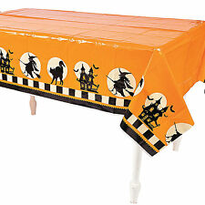 Orange Halloween Tablecloth - Table Cover with witches and Haunted House - Decor