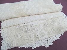 Antique / Vintage PAIR Dresser Scarf / Table Runner Victorian Net Lace Off White
