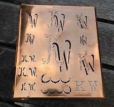 """Monogramm """" KW """" Wäschemonogramm Wäscheschablone Wäschezeichen 11/13 cm KUPFER"""