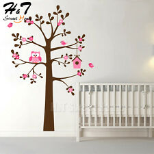 Owl Birds House Large Tree Flowers Vinyl Wall Sticker Decal Living Room Bedroom