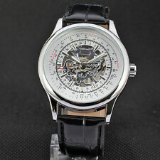 FORSINING A708 Siliver Case Leather Band Mechanical Wrist Watch