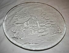 """Libbey Holiday Christmas Serving Platter Plate Clear Glass Carolers Snowman 13"""""""