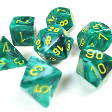 Chessex Dice Poly Vortex Malachite Green w/ Yellow 27455 - Free Bag!