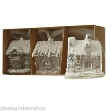 Christmas glass house baubles set of 3 by Heaven Sends vintage retro style