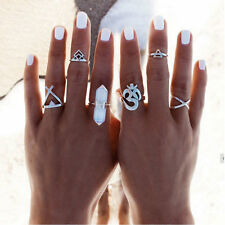 6PCS Lots Women Silver Boho Stack Plain Above Knuckle Ring Midi Finger Tip Rings