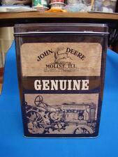 Véritable marron John Deere tin box grand 10 x 14 x 20 cms tracteurs agriculteurs