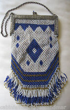 Antique Cobalt Jewel Frame Blue Amber Bead Long Fancy Fringe Leather Lined Purse