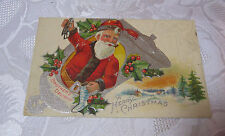 MERRY CHRISTMAS SANTA BROTHER'S DELIGHT ANTIQUE EMBOSSED  RARE POSTCARD  T*