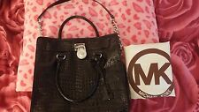 AUTH Michael Kors Hamilton Crocodile Embossed Leather Handbag MSRP $398
