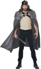 Dragon Master Slayer Gray Men's Cape Halloween Costume Faux Fur Trim ONE SIZE
