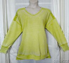 French Laundry Warm Olive Lace Back Shoulders Distressed Look LONGER Top 3X NWT