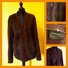 Vintage 60's 70's Lucien Brown Suede & Wool Knit Cardigan UK L Mod Northern Soul
