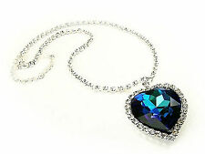 Blue Swarovski Crystal Elements Heart of the Ocean Titanic Necklace Gift Boxed