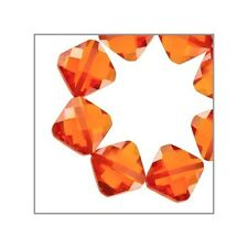 10 CZ Rhombus Square Beads 7mm Fire Opal Orange #64790