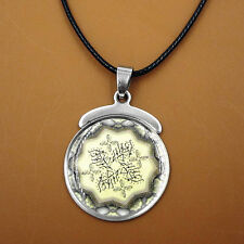 Arabic Islamic Stainless Steel Pendant Amulet Leather Chain Necklace Muslim Gift