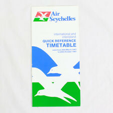 Air Seychelles - Airline Timetable - 29 March to 24 October 1987