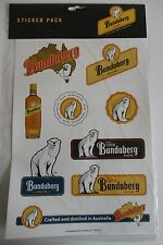 Bundaberg Bundy Rum brand new in packet A4 sheet of 9 different vinyl stickers