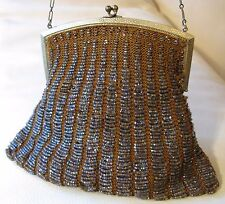 Antique Gold Frame Brown Knit Lavender Peacock Iridescent Pearlescent Bead Purse