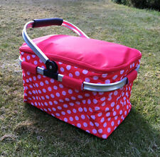 FOLDING PICNIC BASKET RED SPOTTY FOLDABLE FLAT PACK HAMPER INSULATED COOLER BAG