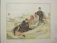 1880 MILITARY COMIC PRINT ~ SHAKESPEARE QUOTE ARMY NAVAL OFFICERS IN LIFE BOAT