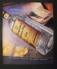 1995 Seagram's Extra Dry Gin-Bottle  Bumpy Grapefruit Highball Glass Promo AD