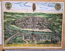 Colour Map of Seville, Spain: 1588 Braun & Hogenberg REPRINT 1500s Tudor