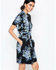 GANNI BLUE FLOWER PRINT SHIRT DRESS - BLUE FLOWER XS