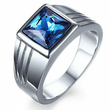 Size 7 Mens Blue Sapphire Stainless Steel Fashion Wedding Ring Gift