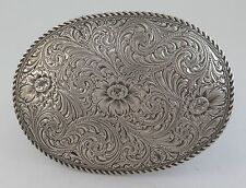 "Massive 130 Gram Sterling Silver 4""+ Crumrine Awesome Etched Western Belt Buckle"