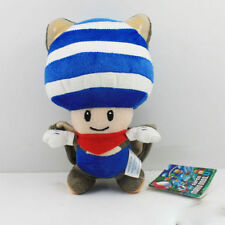 "SUPER MARIO BROS Flying SQUIRREL Blue Toad Plush Doll FIGURE Toy 8"" Cute"