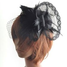 HOT party lady fascinator black net feather veil pillbox hat hair clip millinery