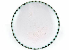 A 1950's Rye pottery pin dish. Red clay. White, Green & Black. English