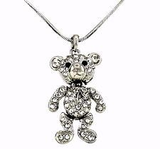 "Adorable 3D Teddy Bear Pendant Necklace with 18"" Chain  Arms and Legs Move !"