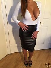 Faux Black Leather Look Skirt and White Deep V neck top     2 piece Set     L