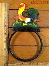 """ROOSTER TOWEL RING Holder 7-3/4"""" rustic cast iron vintage style Wall decor BATH"""
