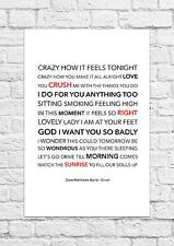 Dave Matthews Band - Crush - Song Lyric Art Poster - A4 Size