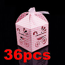 Pink White Bow Baby Carriage Favor Candy Box Party Baby Shower Decorations 36pcs