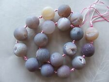 "15"" Strand Purple Agate Crystal Druzy Gemstone Matte Round Beads 16mm"