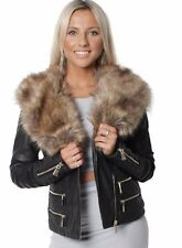New Womens Ladies Black Jacket  Faux Fur Collar Leather Effect Longline  Coat