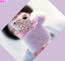 Luxury Bling Diamond Pearl Jewelled Fuzzy Rabbit Fur Case Cover for Cell Phones