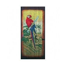 Bamboo Bead Curtain Room Divider Tropical Parrot Wall Hanging Panel Doorway Drap