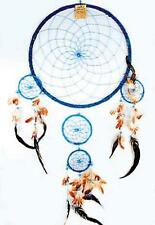 HUGE round BLUE 36 INCH DREAMCATCHER feather bead handmade LARGE dream catcher