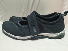 Ryka Womens Tensile Leather Casual Velcro Flats Mary Janes Athletic sz 7 Blue