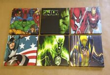 6 SUPERHERO DC & MARVEL CANVAS PICTURES Each One 8 X 8 Inches
