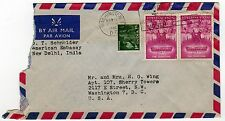 1962 NEW DELHI INDIA Cover ENVELOPE Stamps AMERICAN EMBASSY David Schneider
